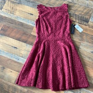 City Studio Maroon Red Lace Lined Flared Dress Sz3